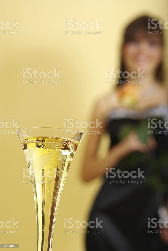 Champage glass and woman royalty-free stock photo