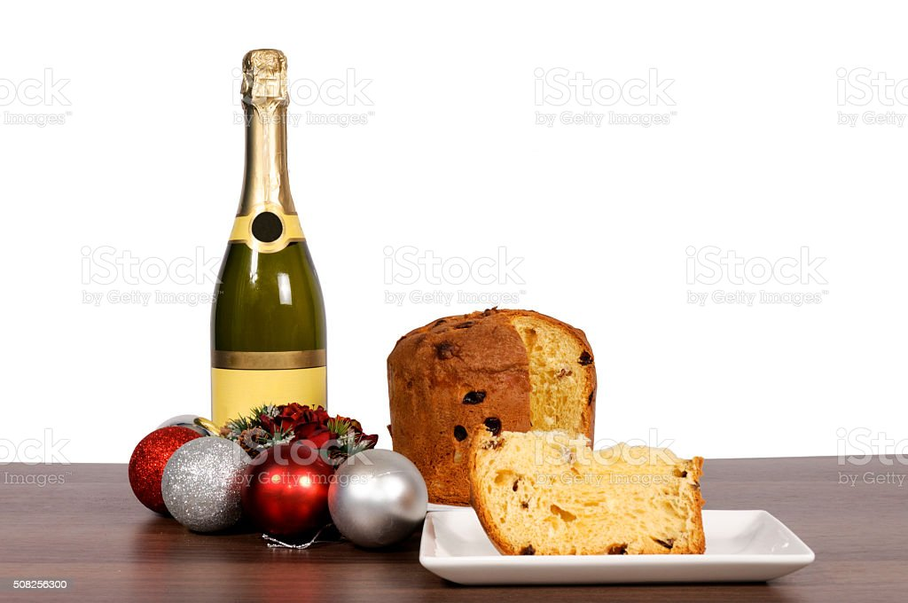 Champagne and cake isolated stock photo