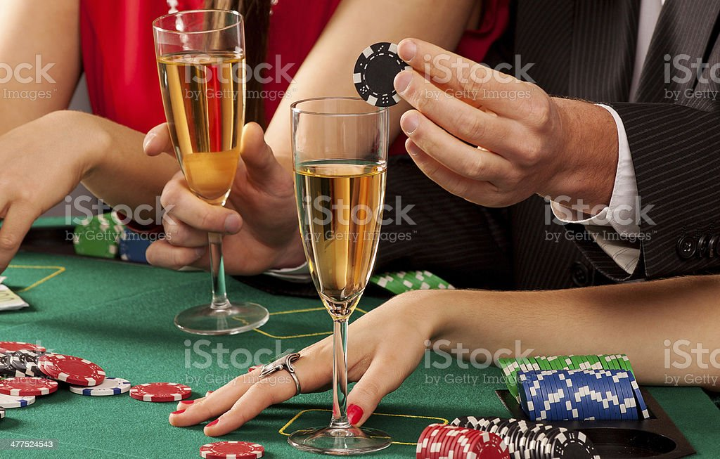 Champagne and chips royalty-free stock photo