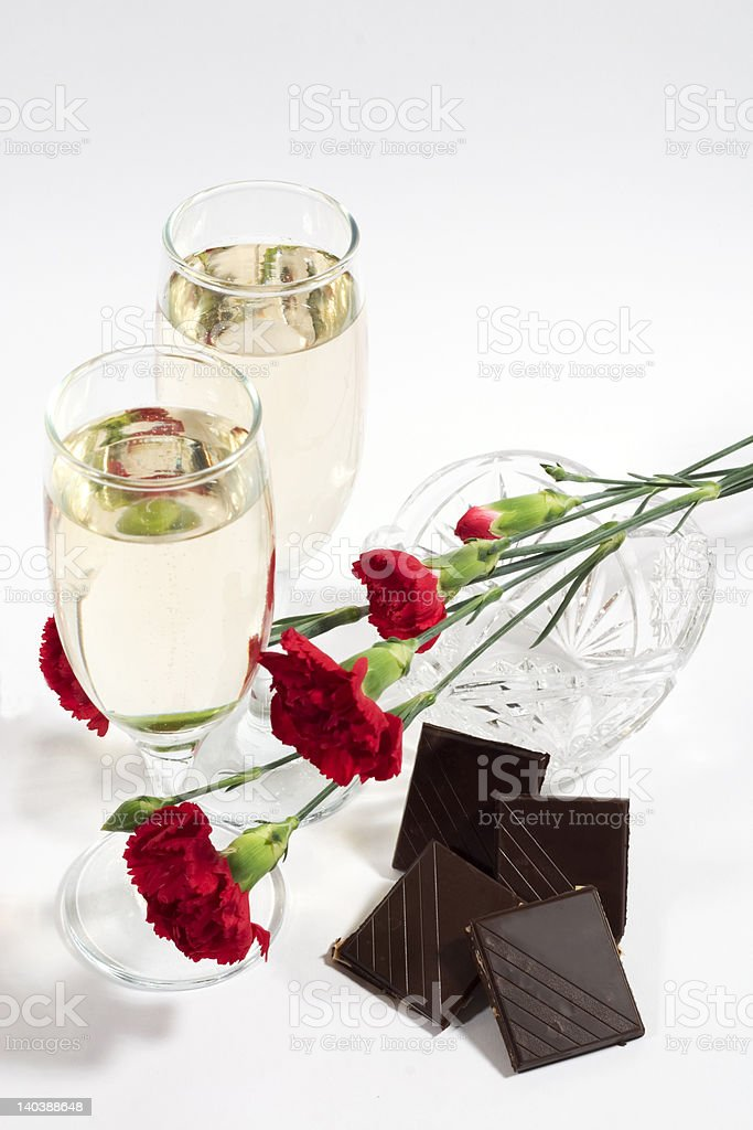 champagne and chocolate royalty-free stock photo