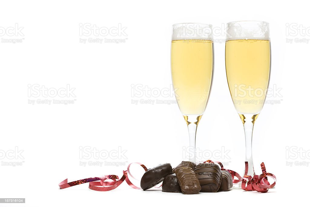 Champagne and Chocolate stock photo