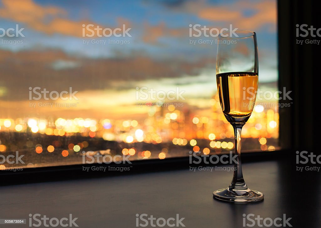 Champagne and city views. stock photo