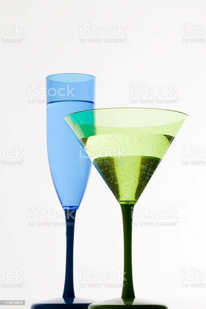 Champagne and Cocktail against a white background royalty-free stock photo