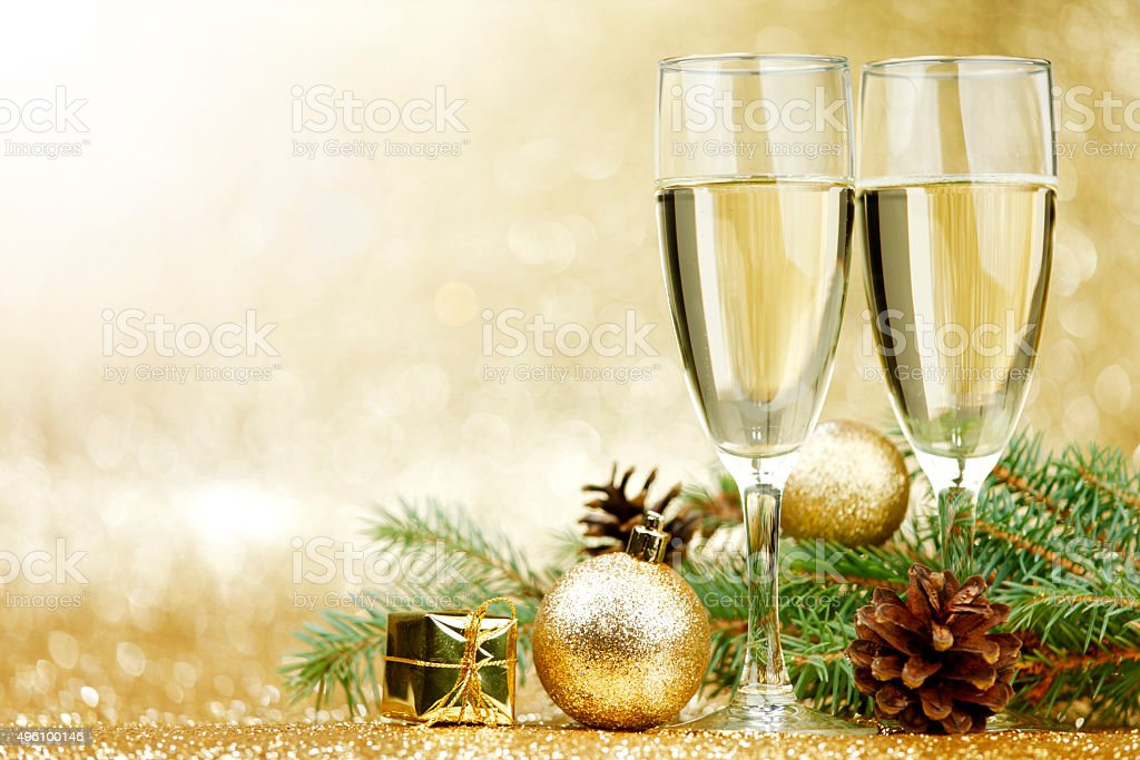 Champagne and  decorations stock photo