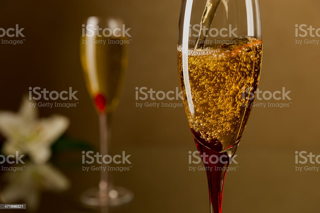 Champagne and flowers royalty-free stock photo