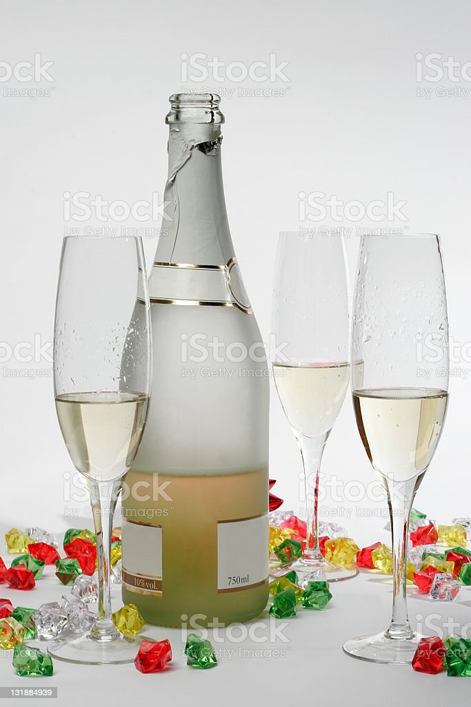Champagne and glasses royalty-free stock photo