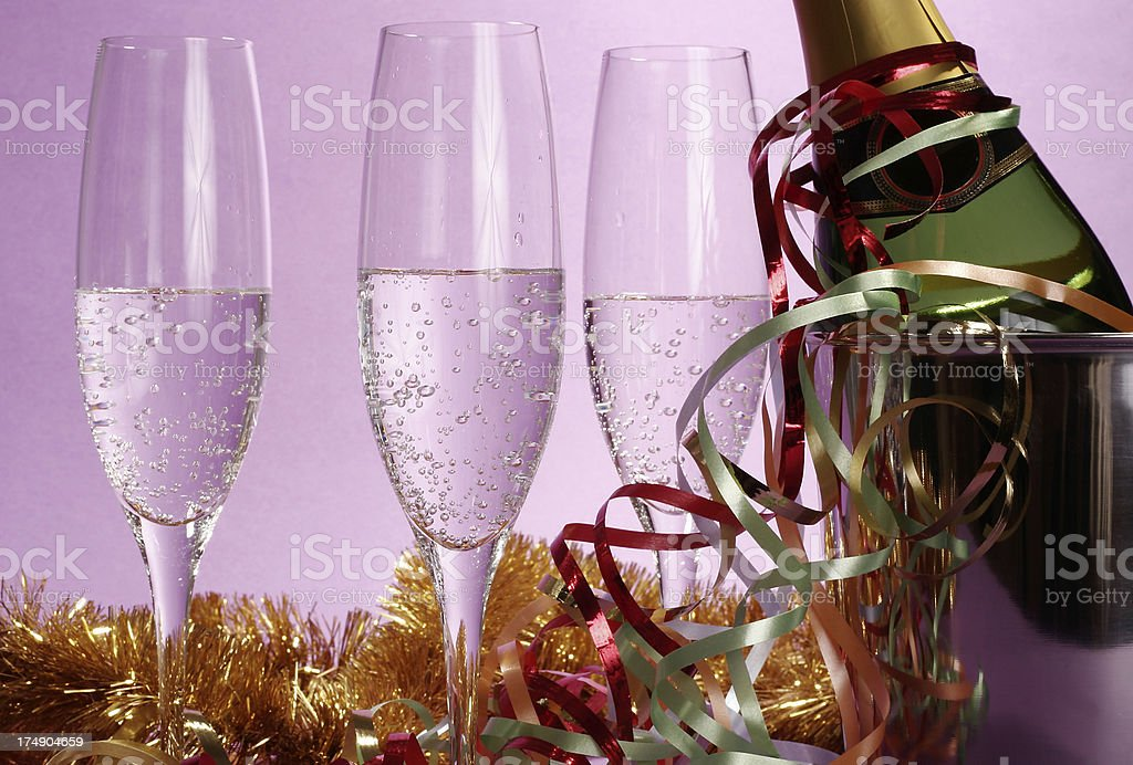 Champagne and glasses stock photo