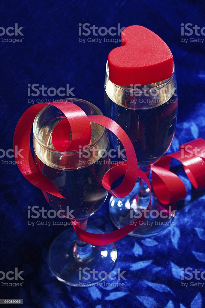 champagne and heart royalty-free stock photo