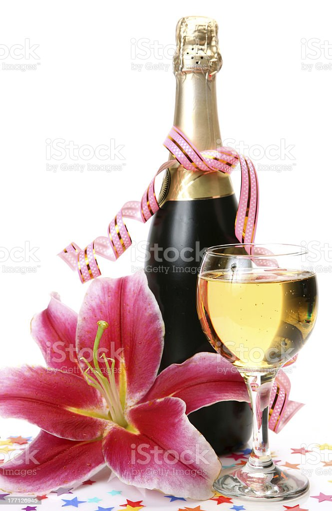 Champagne and pink lily royalty-free stock photo