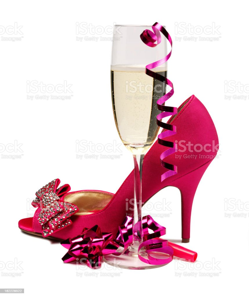 Champagne and Pink Shoe royalty-free stock photo