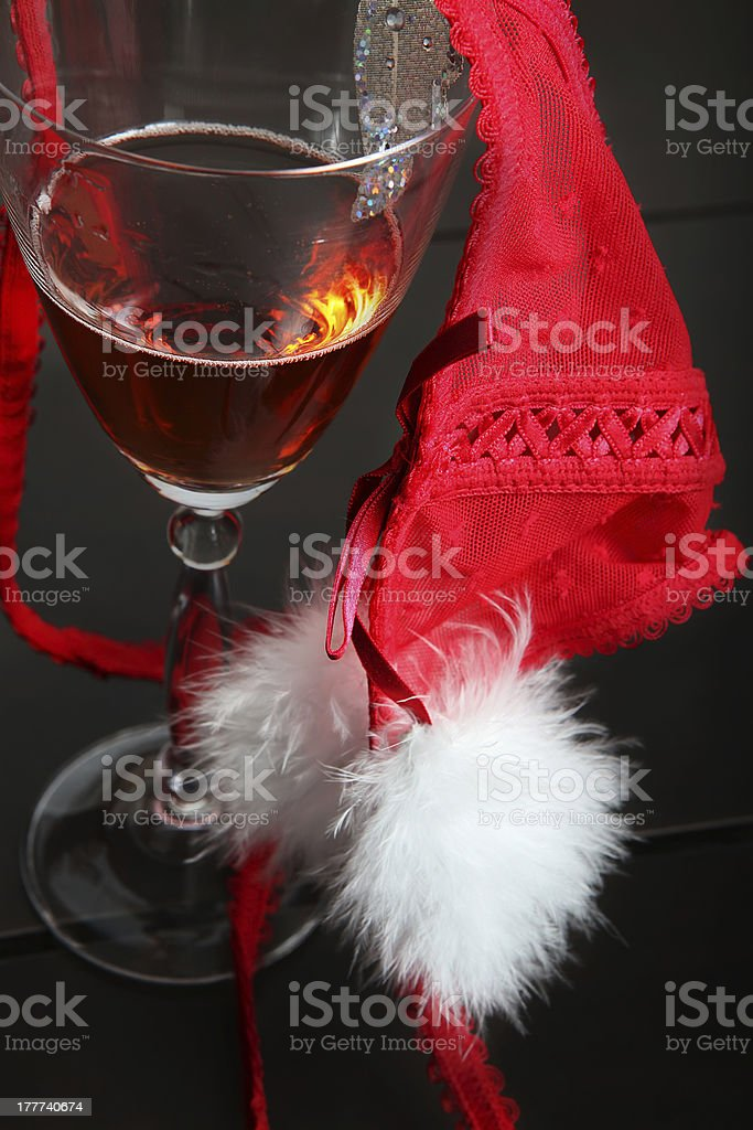Champagne and red underwear royalty-free stock photo