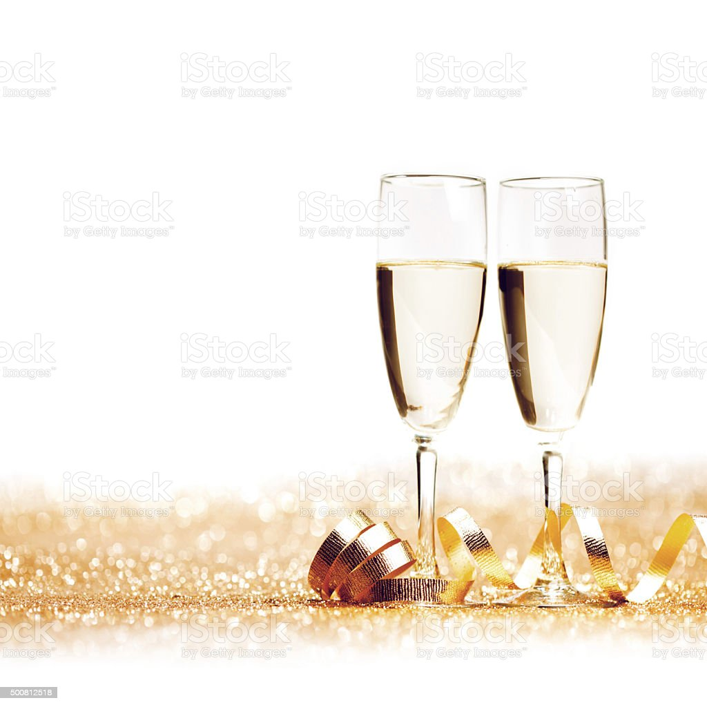 Champagne and ribbon stock photo