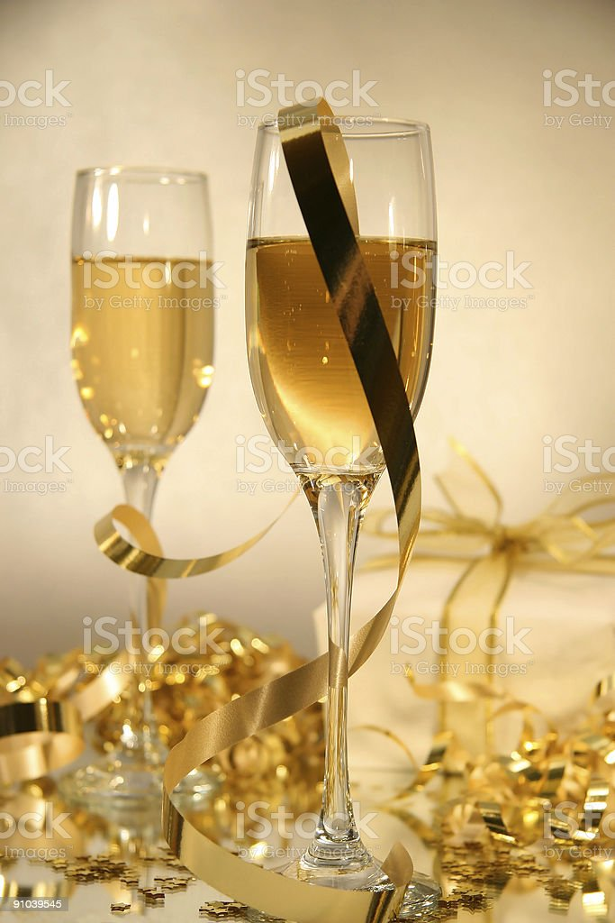 Champagne and ribbons stock photo