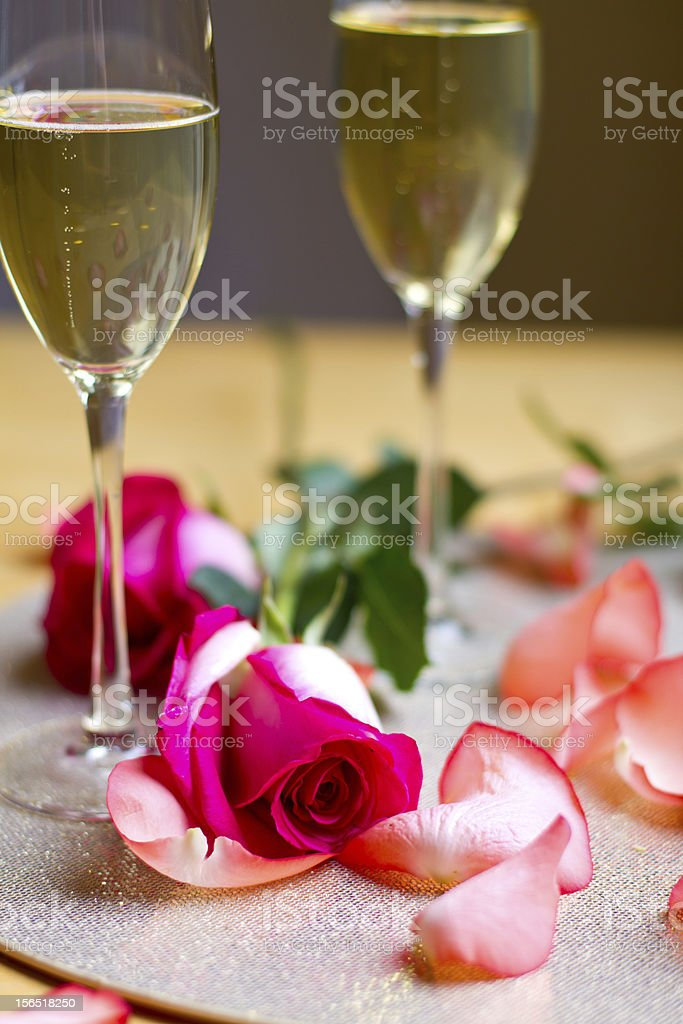 Champagne and Roses royalty-free stock photo