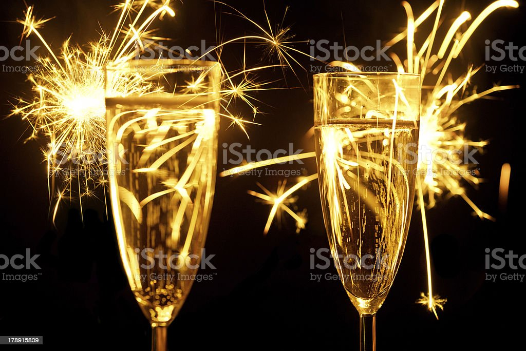 Champagne and sparkler royalty-free stock photo