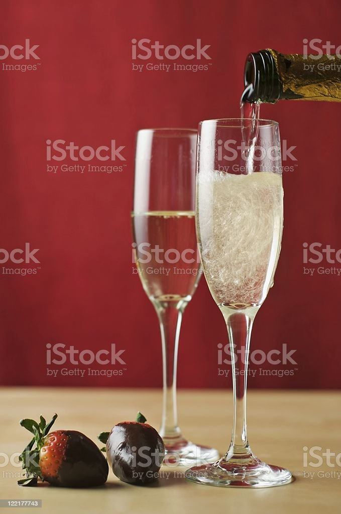Champagne and Strawberries stock photo