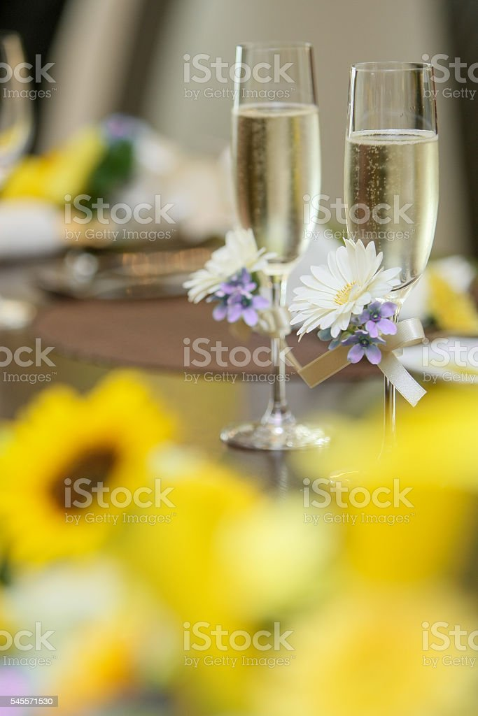 champagne and sunflower stock photo
