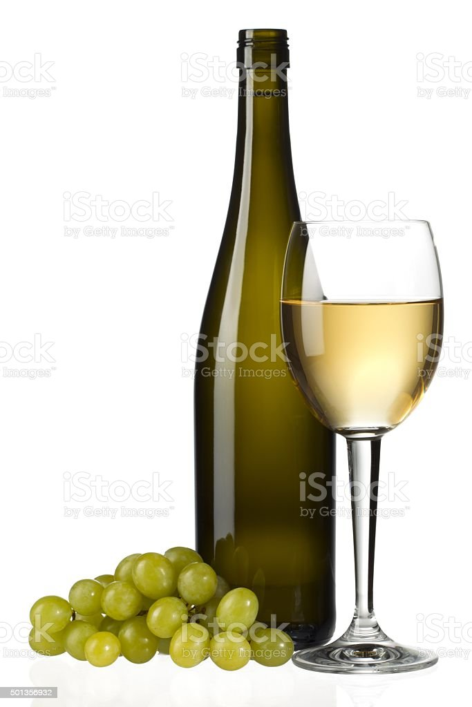 champagne and white grapes stock photo