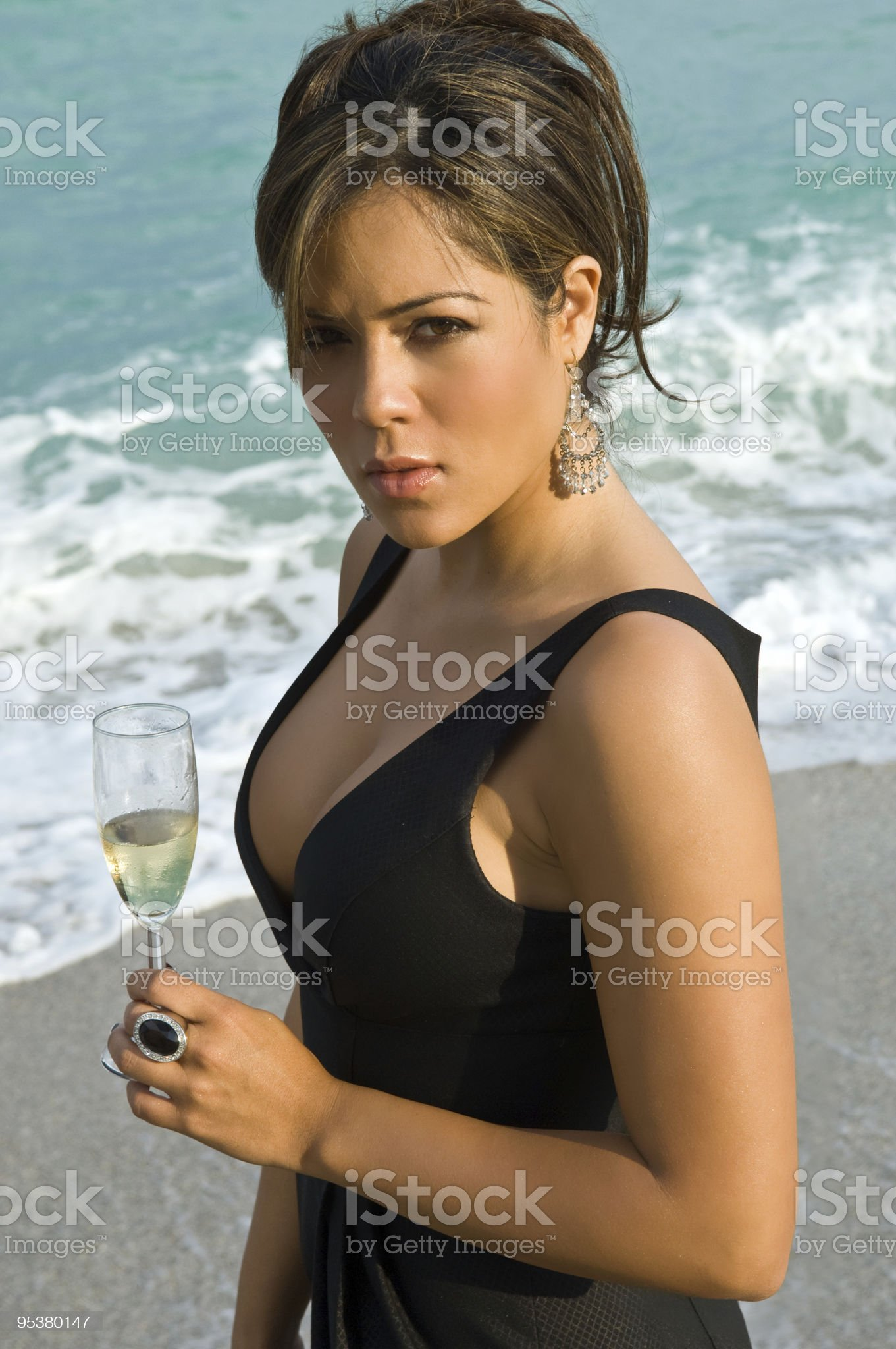 champagne at the beach royalty-free stock photo