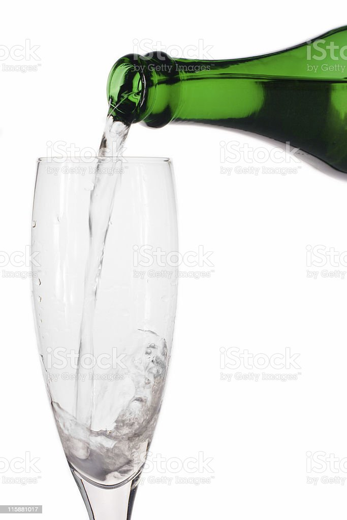 champagne bottle and glass royalty-free stock photo