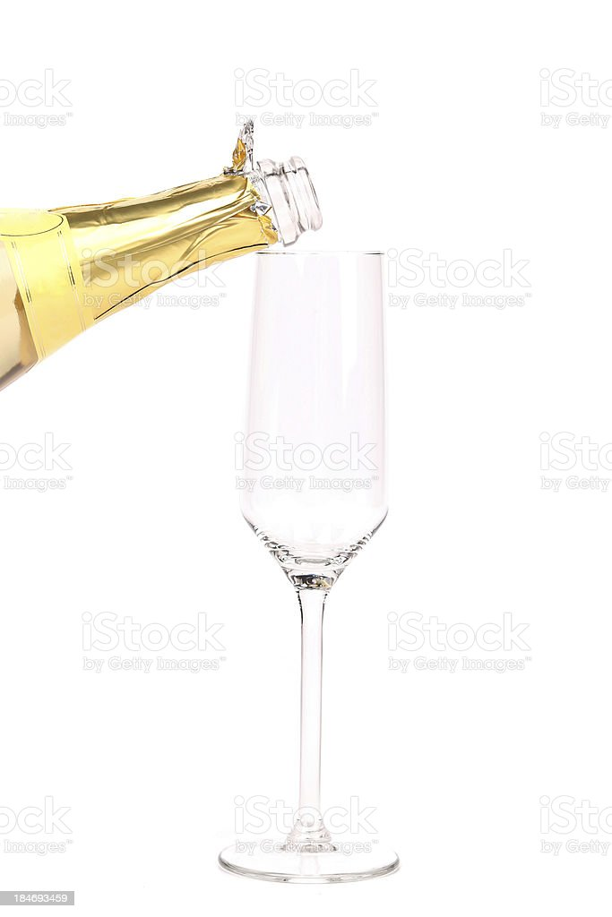 Champagne bottle and glass. royalty-free stock photo