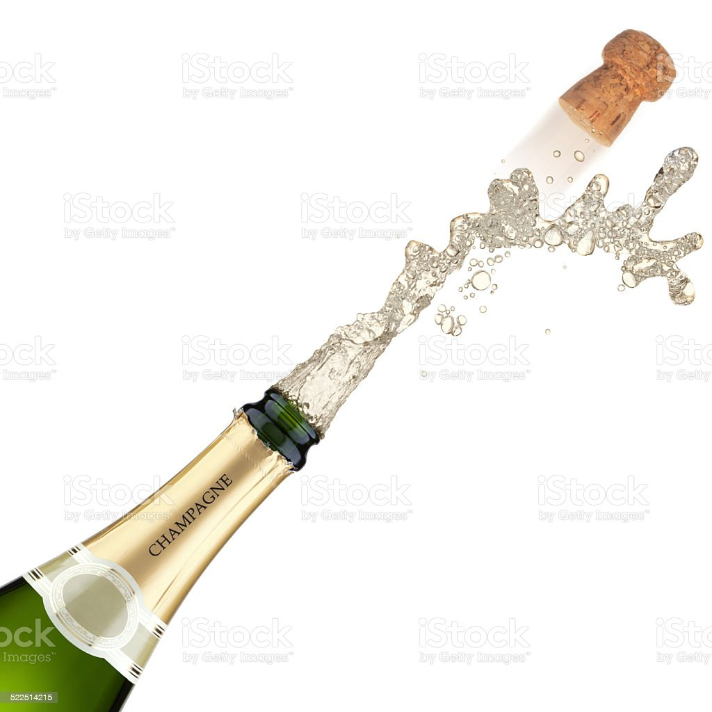 Champagne bottle explosion. stock photo