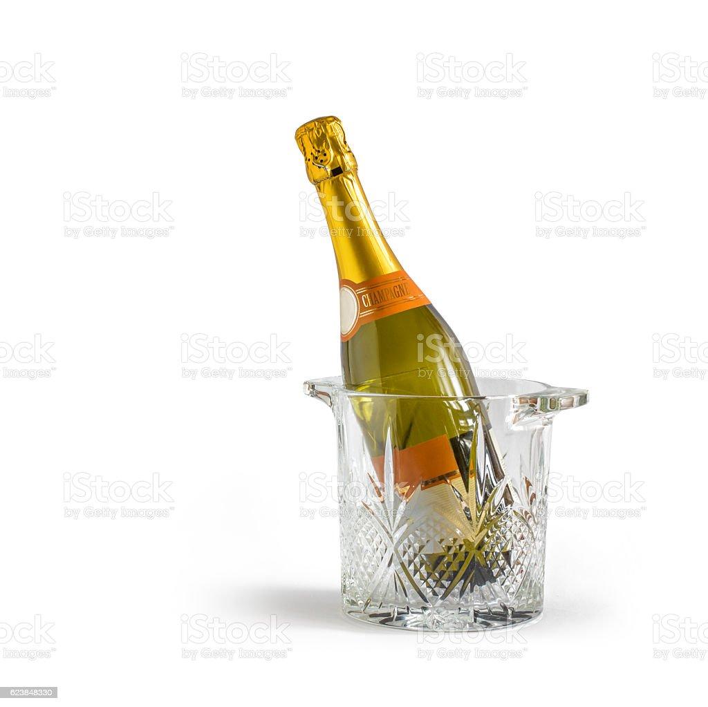 Champagne bottle in a bucket stock photo