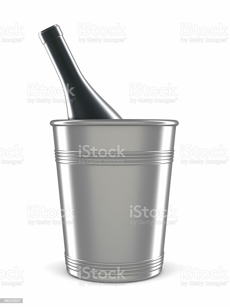 champagne bottle in bucket isolated on white royalty-free stock photo
