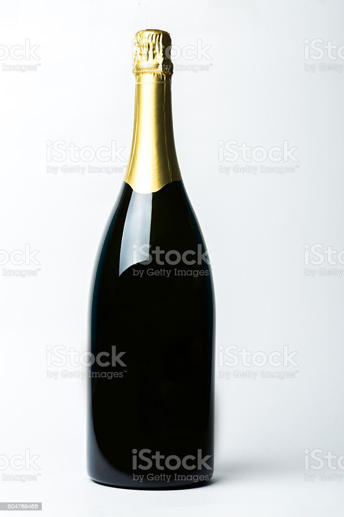 Champagne bottle isolated on a white background stock photo