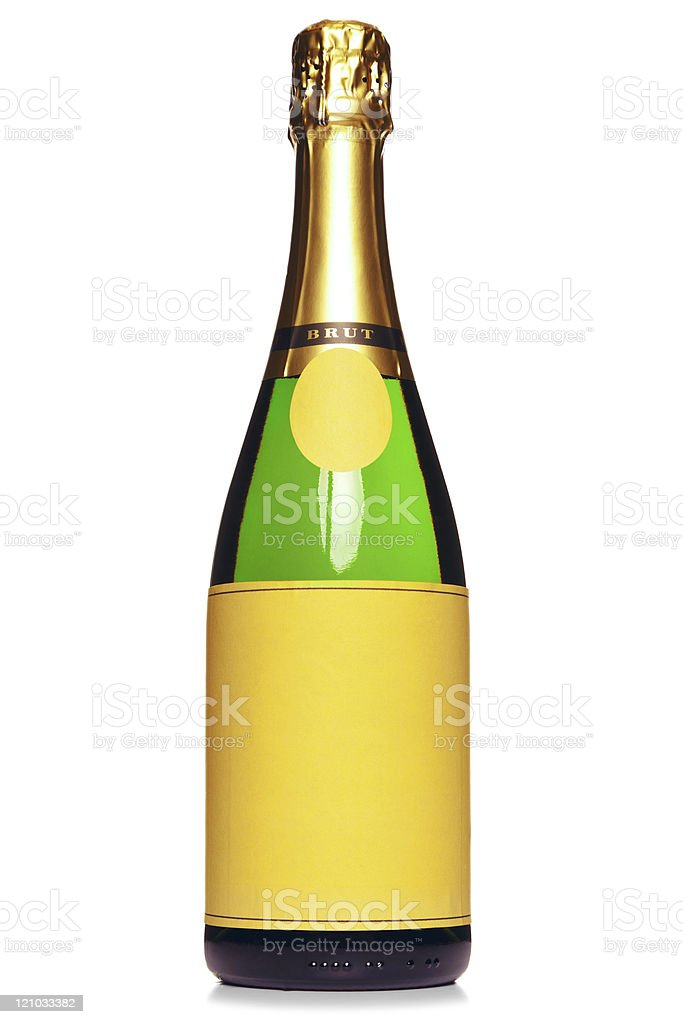 Champagne bottle isolated on white royalty-free stock photo