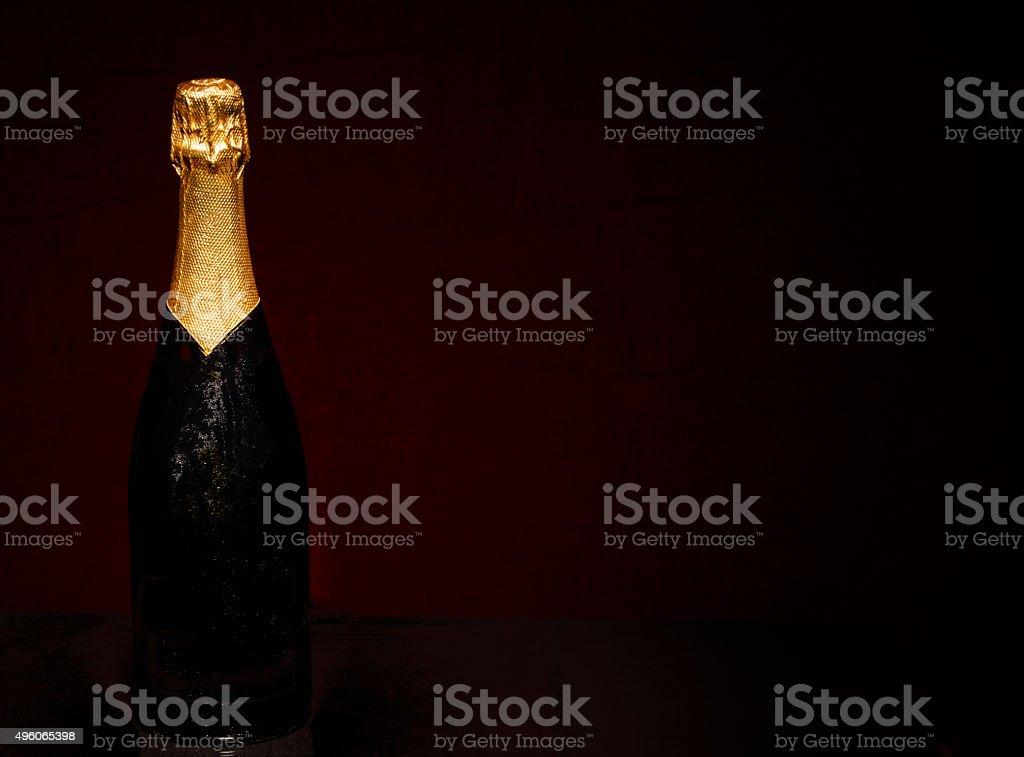 Champagne Bottle on Black stock photo