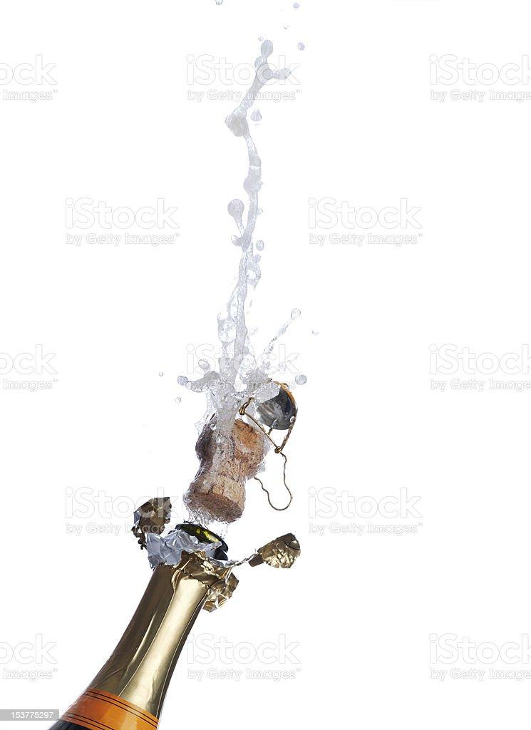 Garrafa de champanhe borbulhante foto royalty-free