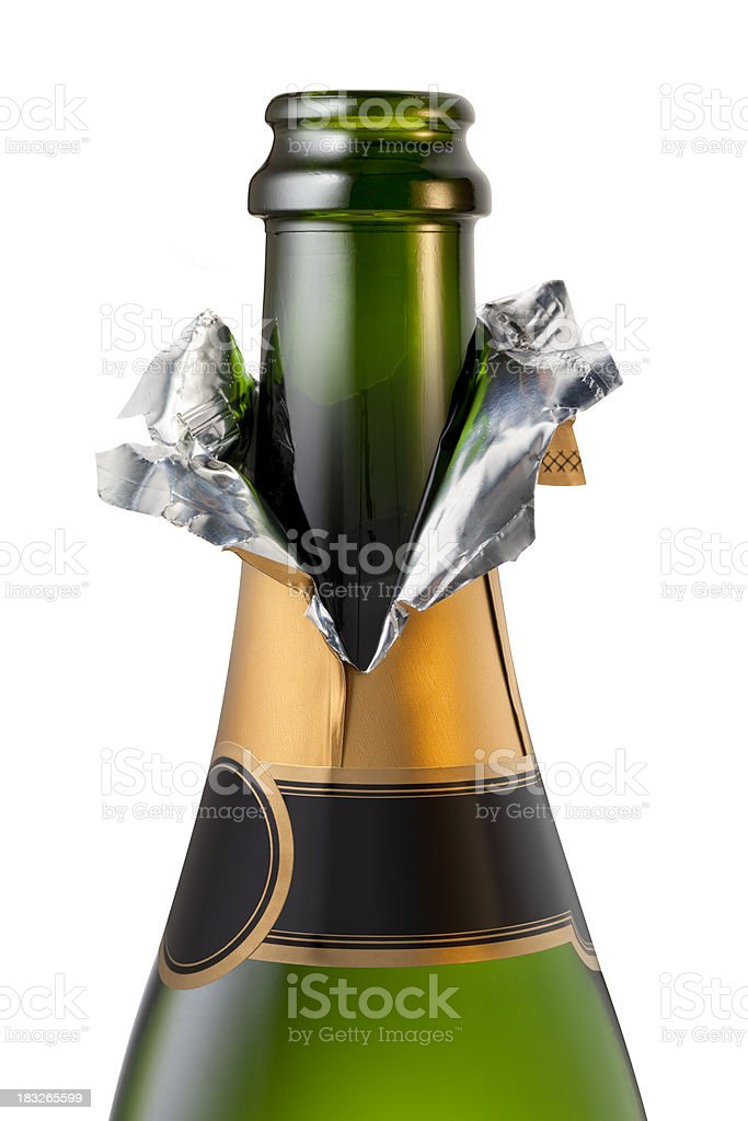 Champagne bottle uncorked stock photo