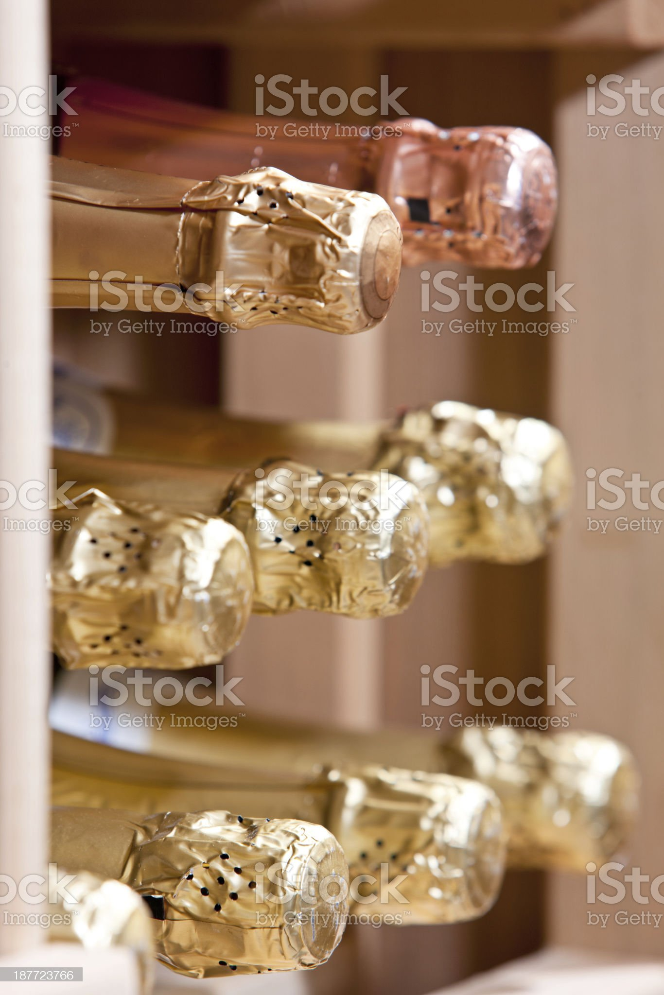 Champagne Bottles In Cellar royalty-free stock photo