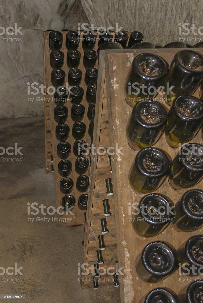 Champagne Bottles Undergoing Remuage stock photo