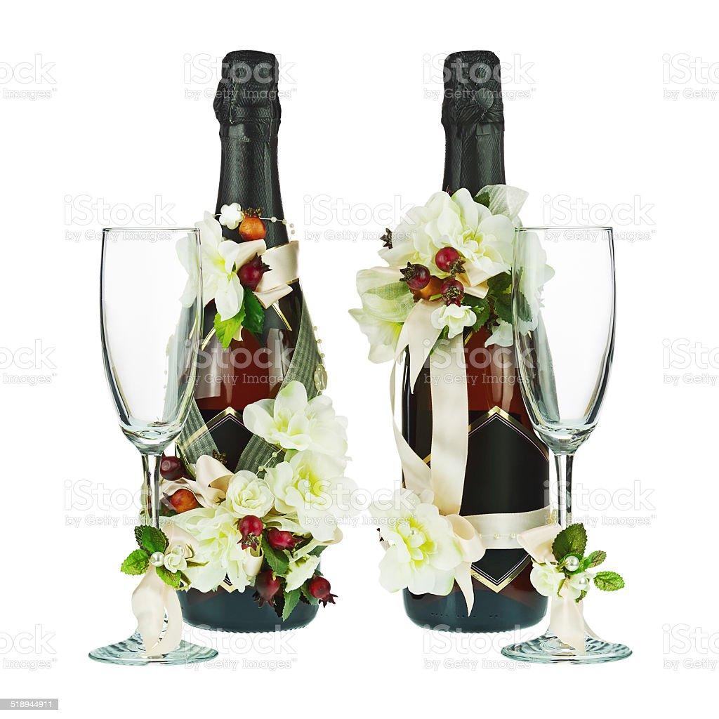 botellas de champn con vidrio y decoracin de boda de flor arkansas foto de stock libre