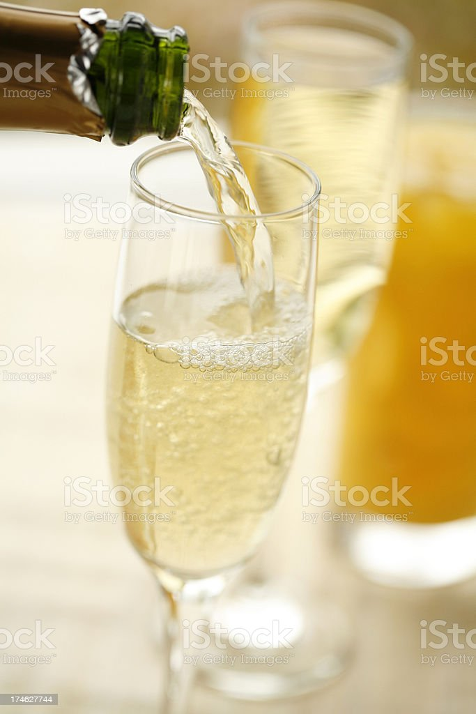 Champagne Breakfast Pour royalty-free stock photo