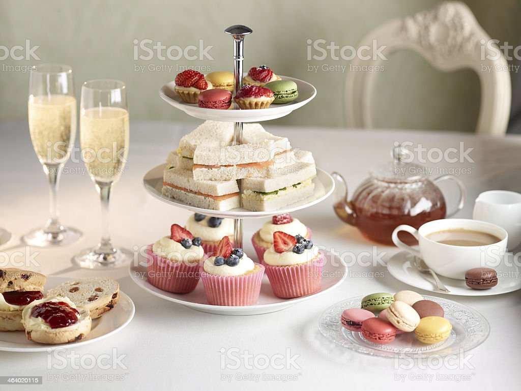 Champagne Breakfast Tea stock photo