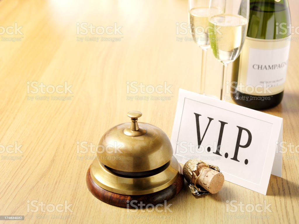 V.I.P. Champagne by the Concierge Bell royalty-free stock photo