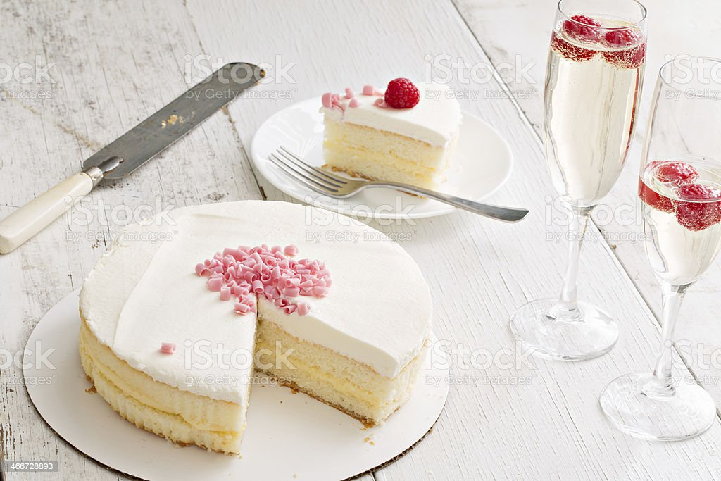 Champagne Cake And Drinks stock photo