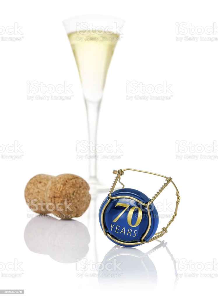 Champagne cap with the inscription 70 years stock photo
