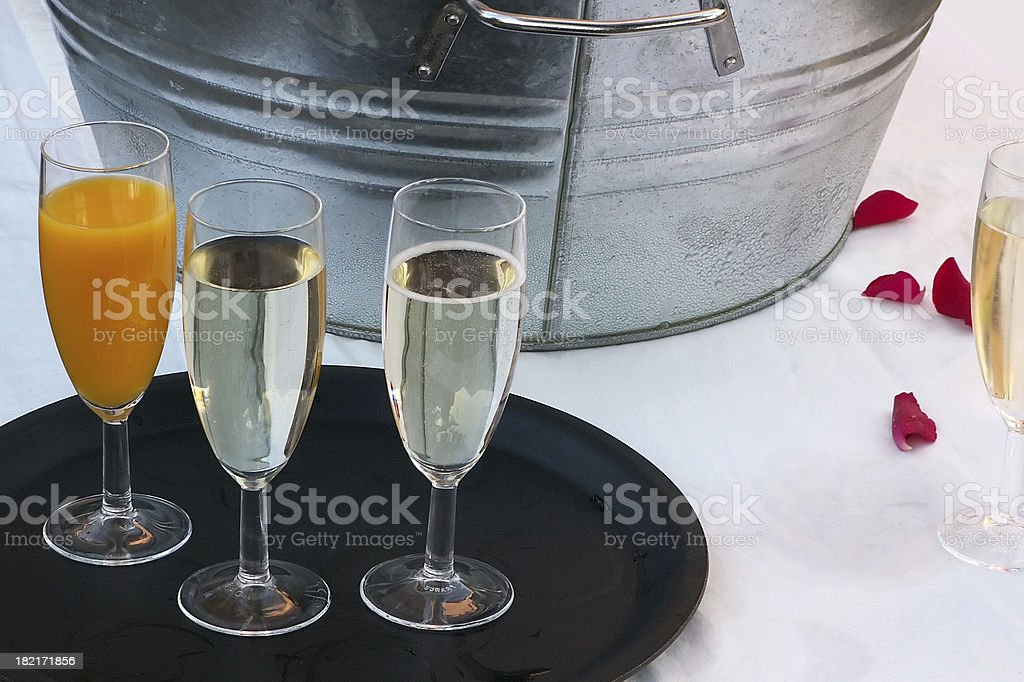 champagne cooler and glasses royalty-free stock photo