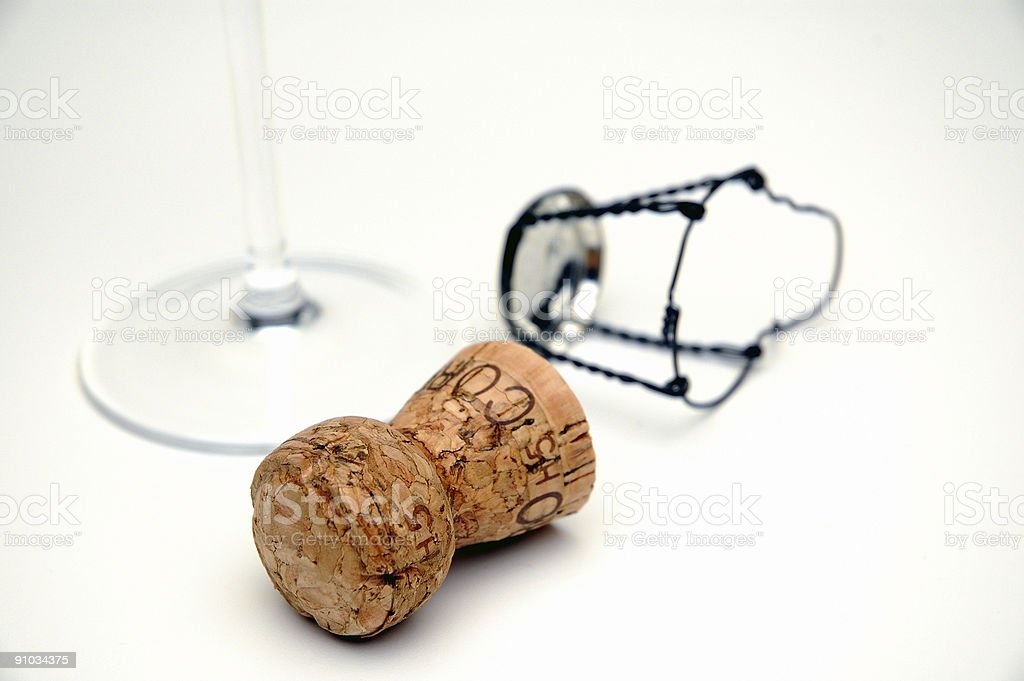Champagne cork against white backdrop royalty-free stock photo
