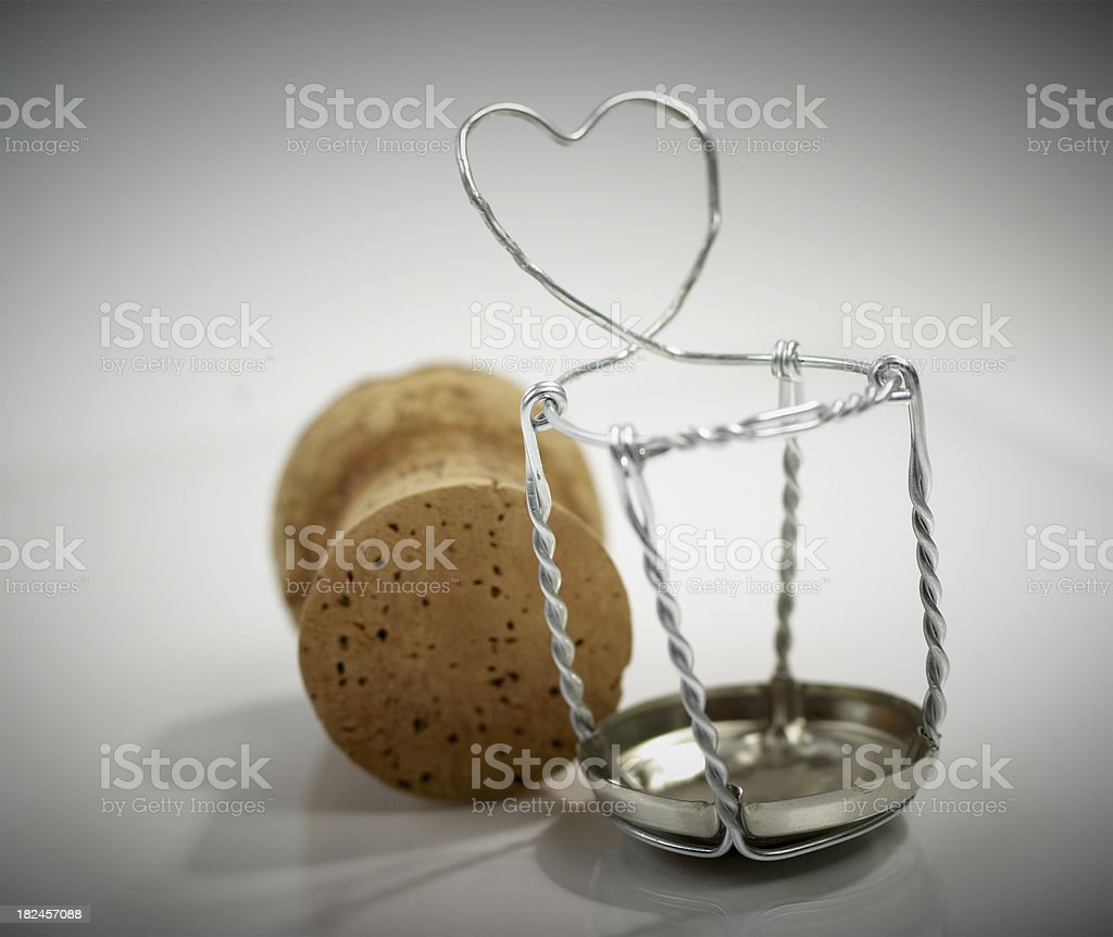 Champagne Cork and symbolical heart. stock photo