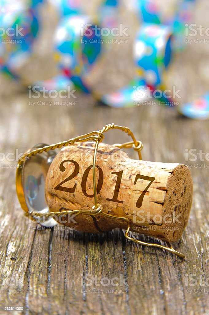 Champagne cork marked with vintage 2017 stock photo