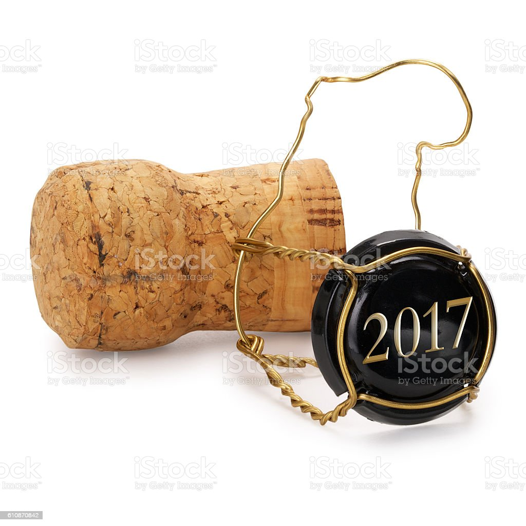 Champagne cork opened last year, contains clipping path. stock photo