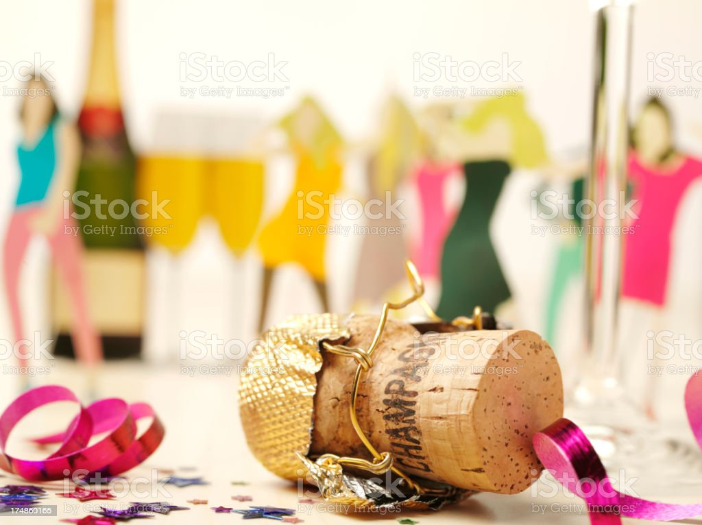 Champagne Cork with Party People Dancing royalty-free stock photo