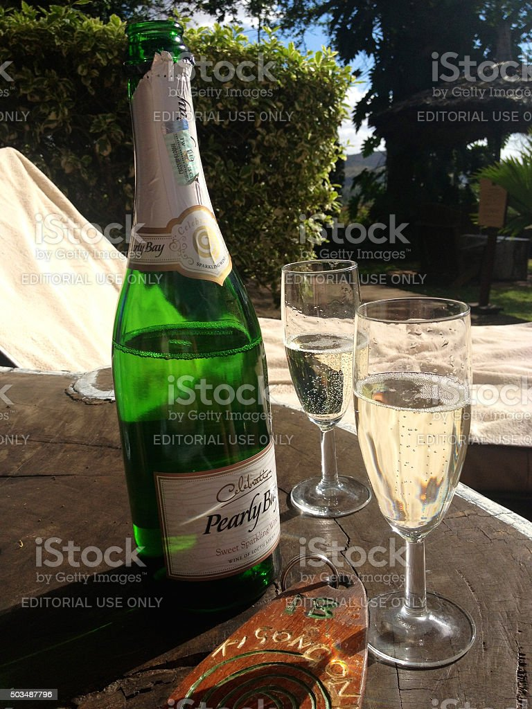 Champagne during luxury safari stock photo