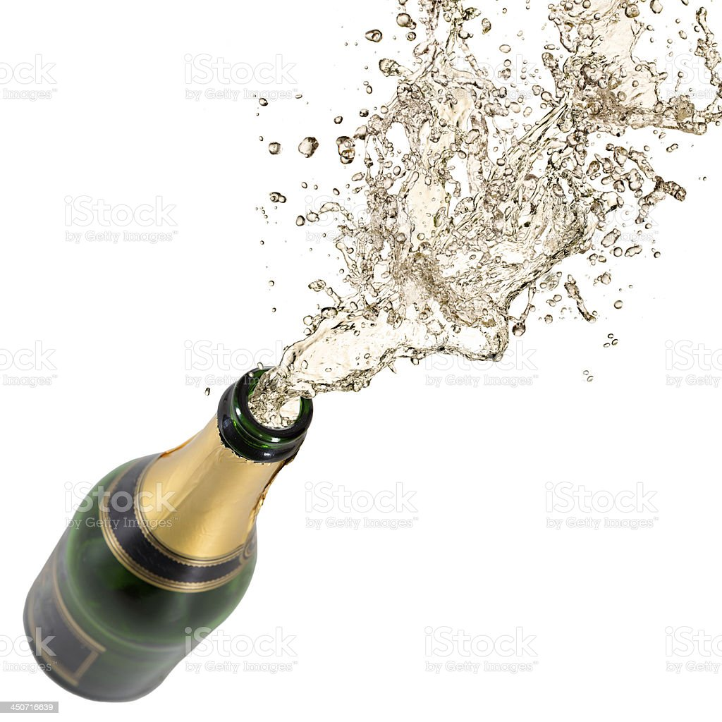 Champagne exploding for a celebration stock photo