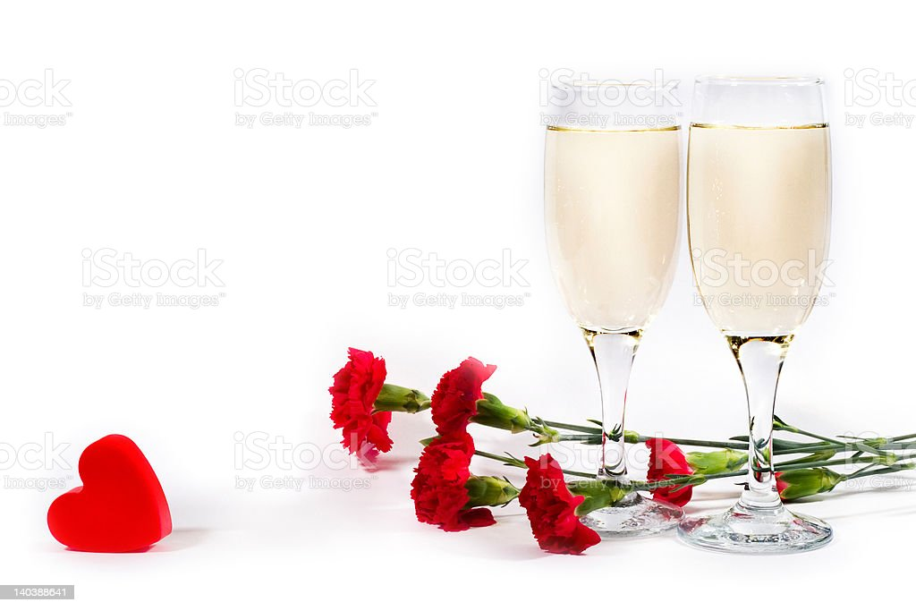 champagne, flowers and heart royalty-free stock photo